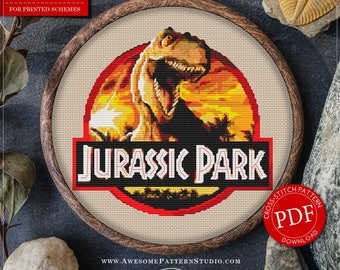 Modern Cross Stitch Pattern of Jurassic Park for Instant Download *P039 | Easy Cross Stitch| Counted Cross Stitch|Embroidery Design