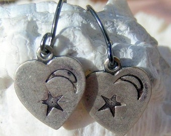 Antique Silver, Hand Stamped Earrings, Hearts w/ Moon and Star,Jewelry