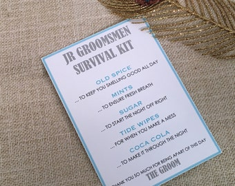 Junior Groomsmen Survival Kit - 5x7 - Postcard - Hard Copy