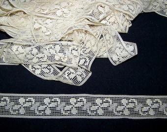 VINTAGE Wide Soft Off White Lace Straight Edge Lingerie Boudoir Flapper Filet Lace Look Fine Weave
