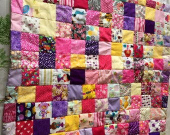 Beautiful girlie purple and yellow patchwork baby quilt