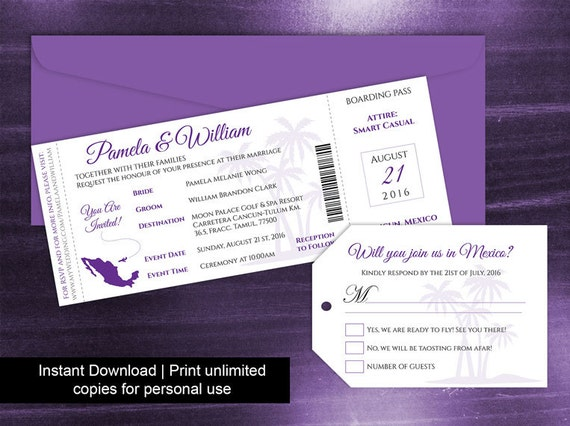 DIY Printable Wedding Boarding Pass Luggage Tag Template - Luggage tag business card template