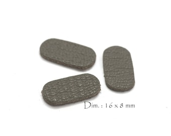 6 rectangles rounded genuine leather - Sun. : 16 x 8 mm - goat leather - charcoal grey color set