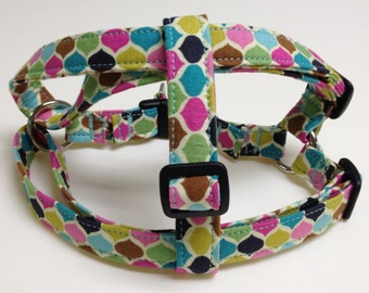 Multi- Colored Adjustable Step-In Dog Harness
