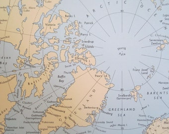 VINTAGE 1960s LLOYD's maritime map, ports, shipping - Arctic Circle, North Pole, Greenland book page plate