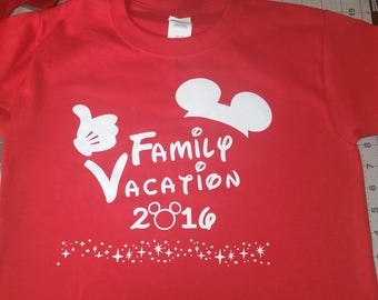 Custom made T-Shirt --  Disney Family Vacation T-Shirt --  GLITTER or Reg. Vinyl (Youth/Adult),  You pick colors.  Personalization available