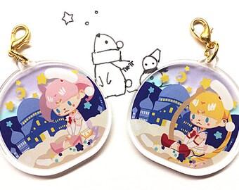 Sailor Moon [FINAL SALE] Chibi MoonCrystal Clear Acrylic Charm, Anime Cellphone Strap Transparent