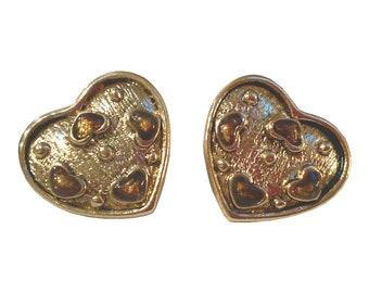 Vintage Gold Tone Enamel Heart in Heart Earrings