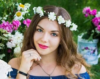 Bridesmaids ivory wreath Bridal floral crown Flower halo headband Flower hair wreath Boho floral crown Wedding crown headpiece hair piece