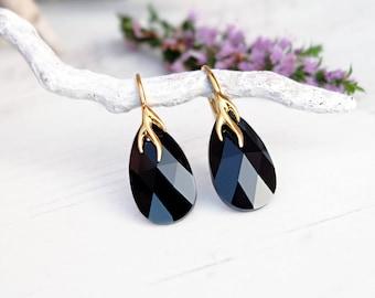 Black crystal earrings Swarovski crystal jewellery Black gold drop earrings Jet teardrop earrings 24k gold plated / Rose gold earrings 5