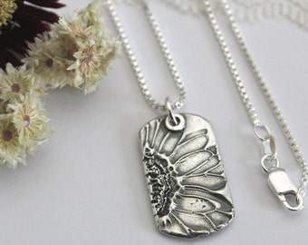 Silver Sunflower Dogtag Necklace