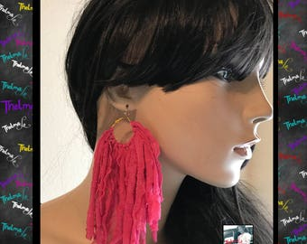 Pink Cloth Earrings,Fabric earrings,fringe earrings,statement earrings,diva earrings,boho earrings,gypsy earrings