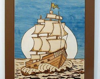 Sailing Ship, Wood Wall Art, Pyrography, Wood Burned, Wall Decor for Home