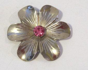 Antique Vintage Art Deco sterling silver Rhinestone Flower Pin/Brooch