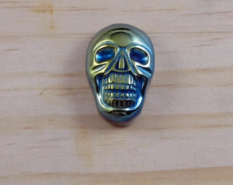 Large Jade Carved Skull Cabochon - 35mm - Green and Blue Flat Back - Jewelry Supply - Pendant, Ring, Bracelet Necklace Supply