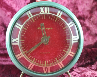 "Alarm Clock ""Yantar"" (Янтарь) (Amber) 4 stone USSR / Work. Great gift! Made in USSR"