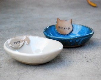 Personalized Cat Bowls, dog dishes, small dog bowls,Personalized dog Bowls, handmade pottery, pet feeder, cat food bowls, pet water bowls