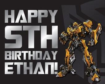 Bumblebee Transformer Birthday Party Banner