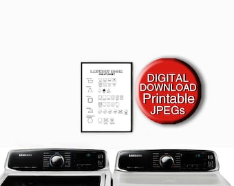 Printable Laundry Symbols, Laundry Care Guide, Laundry Print, A4 8x10 5x7 11x14 16x20 A3
