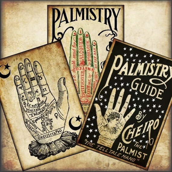 Vintage Palmistry Divination Halloween 2.5 X 3.5 Tags Digital