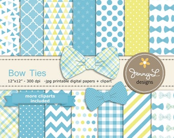 Bow Ties Digital Papers and Clipart, Baby Shower, Little Man, Boy Birthday, Blue and Yellow Digital Scrapbooking Party Theme