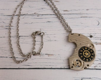 Mens Necklace in Stainless Steel, Steampunk Watch Bridge Pendant with Black Watch Dial, Mens Watch Theme Gifts for Step Dad or Brother