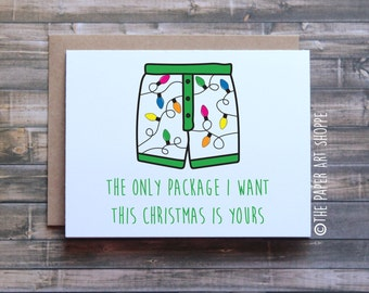 Funny Christmas Card, Funny Christmas card for Boyfriend, Funny Christmas card for Husband, The only package I want this Christmas is yours