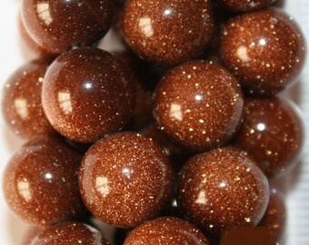 """Goldstone Beads - Round 10 mm Beads - Full Strand 15"""", 38 beads, A Quality"""