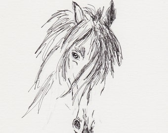 Friesian Horse Sketch,Horse Pen and Ink Drawing, 5x7 Equine Original Art