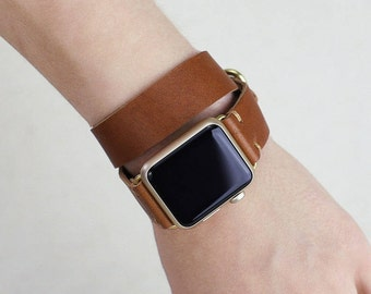 Apple Watch Band 42mm Double Wrap Leather     38mm Double Tour Leather Apple Watch Strap Womens   Horween English Tan   Metal Loops