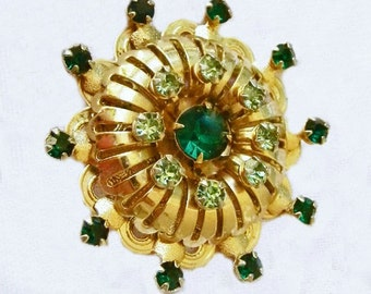Vintage Brooch with Green Rhinestones, 1950s Costume Jewelry, Retro 1950, Vintage Jewelry Accessories, Womens Accessories, Bling Jewelry
