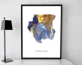 Suriname poster, Suriname art, Suriname map, Suriname print, Gift print, Poster