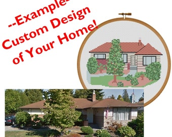 PATTERN: Custom Personalized Home, House, Housewarming, Cross Stitch Pattern, Instant PDF Download, Printable Pattern