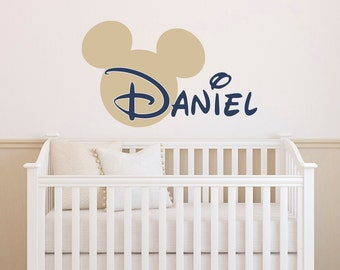 Boy Name Wall Decal- Mickey Mouse Wall Decals- Wall Decals Nursery Boys Room Decor- Personalized Baby Name Boy Wall Decal Kids Decor 002