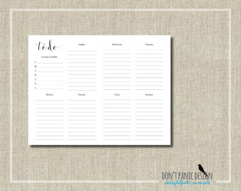 To Do List - Pretty Black Printable Weekly Planner Page - Daily Planner Sheet - Grocery List Planner