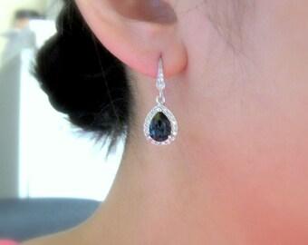wedding jewelry bridal jewelry wedding bridal earrings Clear white teardrop AAA cubic zirconia deep navy montana blue crystal hook earrings