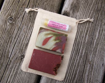 Small Gift Set with Two Soaps + Lip Balm, 1.5 oz Soaps, Mother's Day Gift, All Natural Gift Set, Eco Friendly Gift Set, Handmade Unique Gift