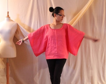 custom linen wide kimono sleeve top / made to order / casual linen top / kimono top / minimalism top /