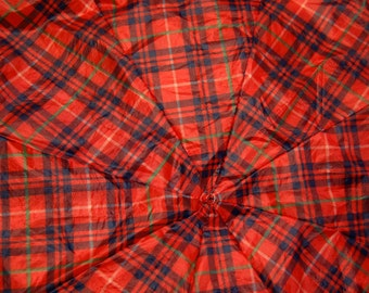 Red, Green and Blue Plaid Upcycled Umbrella Dog Rain Coat