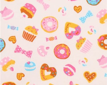 209061 light cream with colorful donut cupcake sweet oxford fabric from Japan