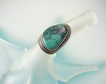 Turquoise Sterling Silver Ring - One-of-a-kind Green Turquoise Jewelry - Artisan Made Ring