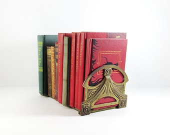 Vintage 1920s Art Nouveau Brass Expandable Book Rack, Antique Home Decor