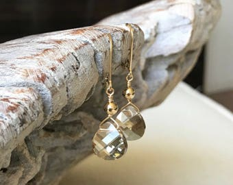 Champagne Crystal Shadow Earrings in Gold or Silver