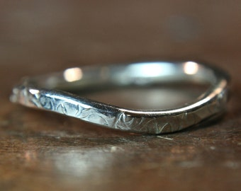 "Recycled sterling silver ""curvy"" textured wedding ring. Hand made in the UK In Stock. Size UK N"