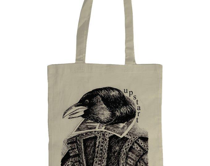 Upstart Crow William Shakespeare Original Line Drawing Illustrated Graphic Tote Bag. Natural Cream.