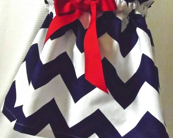 Girls' Navy Chevron adjustable waist Skirt with Red Bow