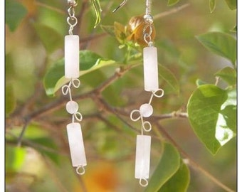 Sterling silver earrings with Rose Quartz