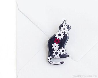White and red gears cat brooch, steampunk cat jewelry, mechanical jewelry, dark brooch, gray brooch, gear jewelry, techie jewelry, geek