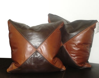 """Genuine Leather Accent Pillows, Throw pillow 18""""X18"""" - SET OF 2"""