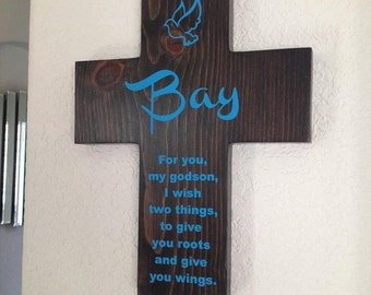 Godson Cross Personalized with name on Pine Wood w/ Dove (Roots & Wings) Baptism, Easter, Birthday, 1st communion, gift for boy cyan blue
